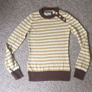 Fossil yellow /brown striped fall sweater size s